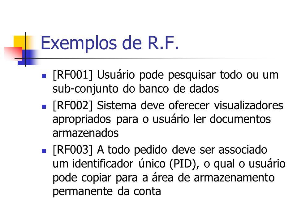 Exemplos de R.F. [RF001] Usuário pode pesquisar todo ou um sub-conjunto do banco de dados.